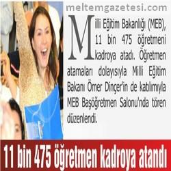 11 bin 475 öğretmen kadroya atandı