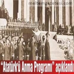 """""""Atatürk'ü Anma Programı"""" açıklandı"""