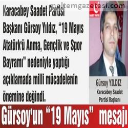 """Gürsoy'un """"19 Mayıs"""" mesajı"""