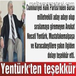 Yentürk'ten teşekkür