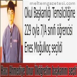 Hacı Ahmediye Onur İlköğretim başkanını seçti
