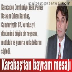 Karabaş'tan bayram mesajı