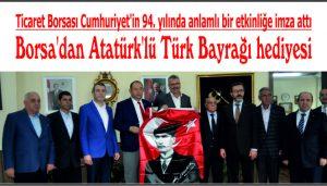 Borsa'dan Atatürk'lü Türk Bayrağı hediyesi