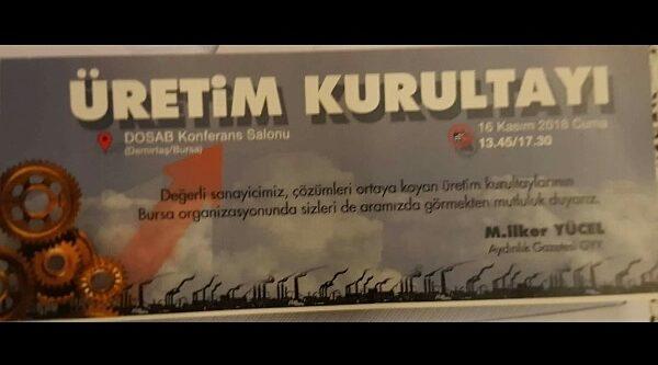 Bursa'da Üretim  Çalıştayı düzenlenecek