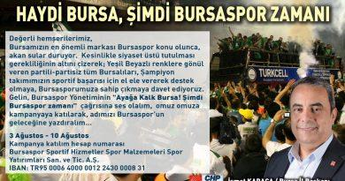 """CHP İL BAŞKANI KARACA'DAN """"BURSASPOR'A DESTEK"""" ÇAĞRISI"""