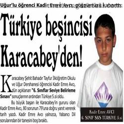 Türkiye beşincisi Karacabey'den!