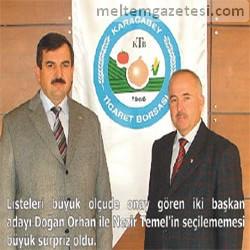 Başkan adayları Doğan Orhan ve Nezir Temel Borsa'ya giremedi.