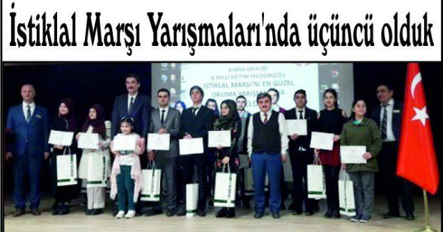 İstiklal Marşı Yarışmaları'nda üçüncü olduk