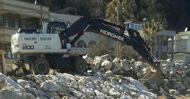 Malkara'daki kıyı erozyonuna geçici önlem
