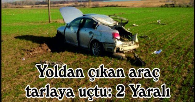 Yoldan çıkan araç  tarlaya uçtu: 2 Yaralı